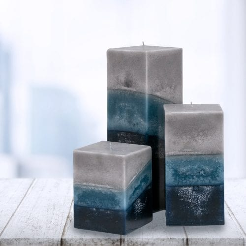 indigo mist-square candle set